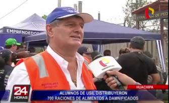 Huachipa: Alumnos de USIL distribuyeron 700 raciones de alimentos a damnificados
